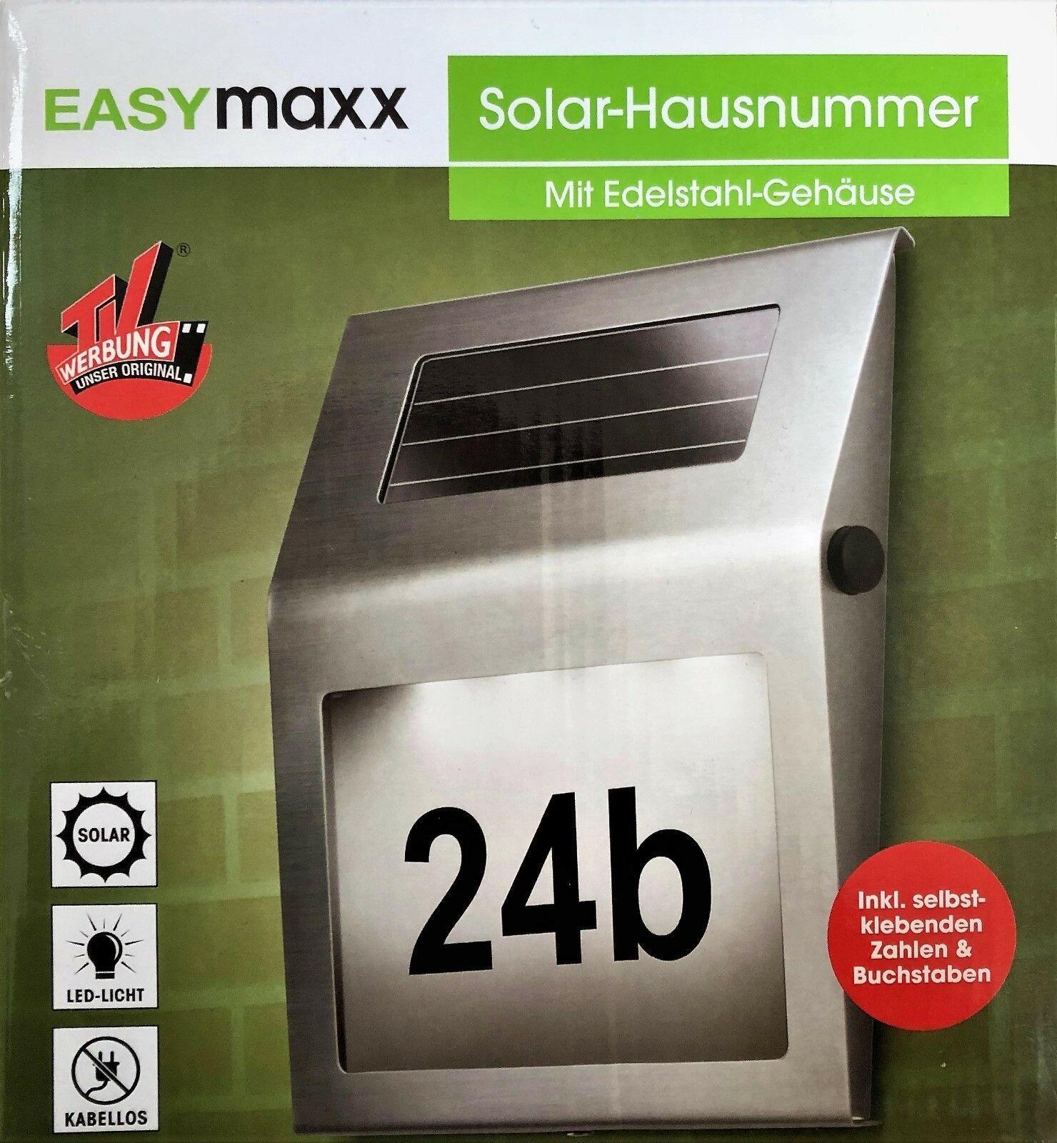 EASYmaxx Solar- Hausnummer-Leuchte aus Edelstahl 20% günstiger