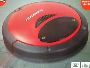 Cleanmaxx Saugroboter 2in1 Rot Schwarz mit Bodentuch-Wischfunktion