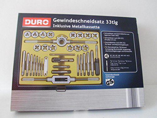 DURO Gewindeschneidsatz 33 teilig mit Metallkassette