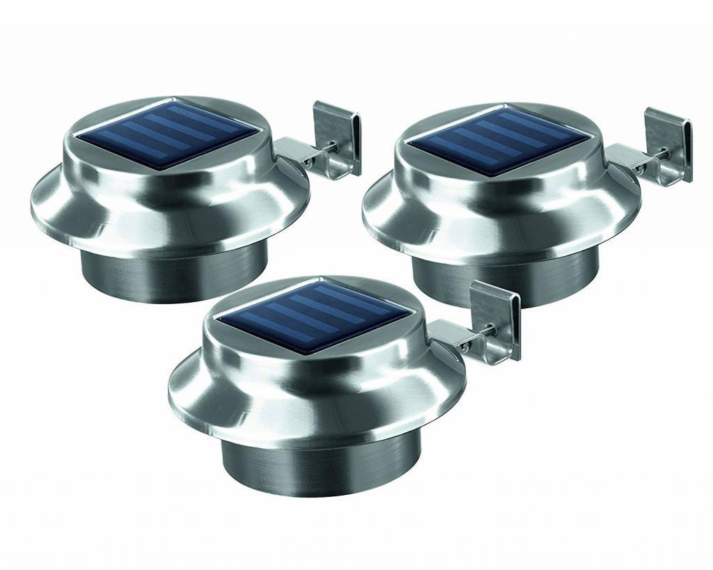 Easymaxx Solar-Dachrinnenleuchten aus Edelstahl im 3er-Set